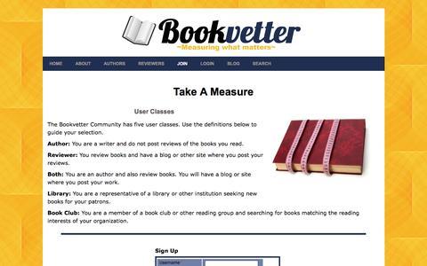 Screenshot of Signup Page bookvetter.com - Bookvetter Join - captured July 30, 2016
