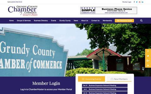 Screenshot of Login Page grundychamber.com - Login - Member Login | Grundy County Chamber of Commerce - captured Sept. 23, 2017
