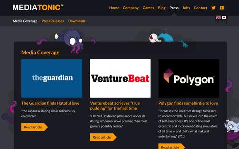 Screenshot of Press Page mediatonicgames.com - Media Coverage |  Mediatonic - captured Sept. 16, 2014