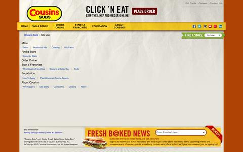 Screenshot of Site Map Page cousinssubs.com - Site Map - captured Sept. 24, 2014