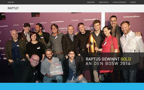 Screenshot of Home Page raptus.com - Raptus AG - captured Oct. 6, 2014