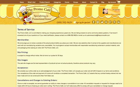 Screenshot of Terms Page thepromocafe.com - Terms of Service | The Promo Cafe - captured Sept. 30, 2014