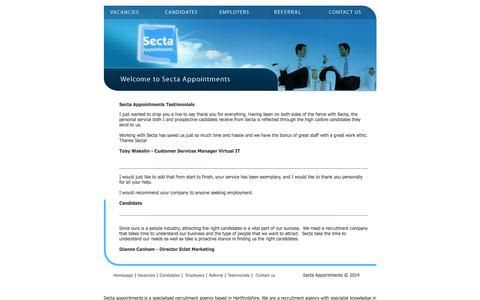 Screenshot of Testimonials Page secta-appointments.co.uk - Recruitment agency for IT recruitment and financial recruitment specialising in cisco jobs, IT jobs & telecoms jobs - captured Dec. 22, 2015
