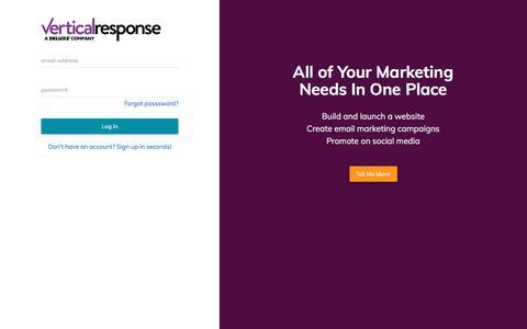Screenshot of Login Page verticalresponse.com - VerticalResponse - captured July 12, 2018