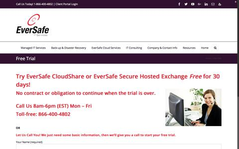 Screenshot of Trial Page eversafeit.com - Free Trial | Managed Services Provider Eversafe IT Boston MA - Manchester NH - captured Sept. 19, 2018