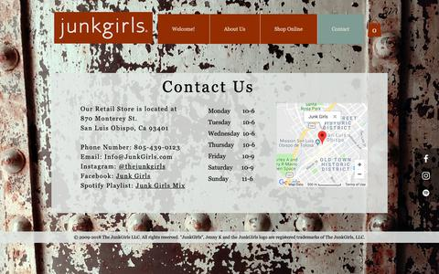Screenshot of Contact Page junkgirls.com - JunkGirls.com | Contact - captured Oct. 14, 2018
