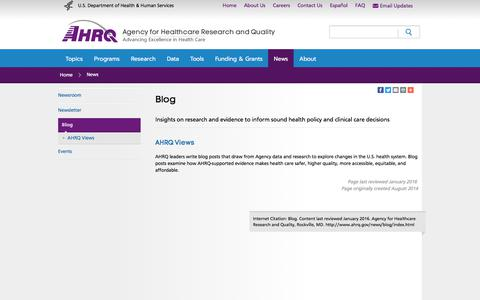 Screenshot of Blog ahrq.gov - Blog | Agency for Healthcare Research & Quality - captured Oct. 7, 2017