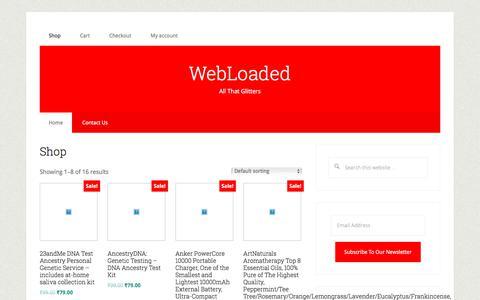 Screenshot of Home Page webloaded.com - WebLoaded – All That Glitters - captured Sept. 23, 2018