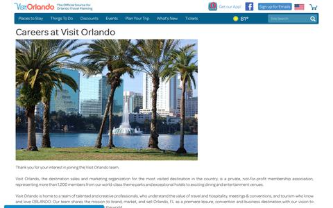 Screenshot of Jobs Page visitorlando.com - Visit Orlando Careers | Job Openings & Application Info - captured July 19, 2018