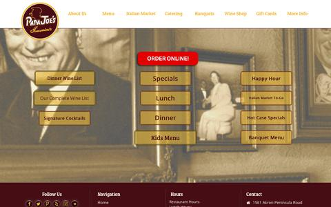 Screenshot of Menu Page papajoes.com - Papa Joe's | Over 80 Years of Decadent Food, Great Wine and Fantastic Service in Akron, OH! - captured July 2, 2018