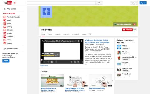 Screenshot of YouTube Page youtube.com - TheBeezid  - YouTube - captured Oct. 23, 2014