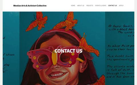 Screenshot of Contact Page maacollective.org - Contact Us | Mestizo Arts & Activism Collective - captured Oct. 27, 2014