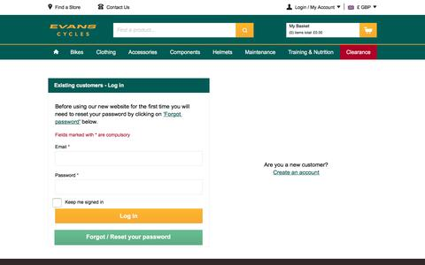 Screenshot of Login Page evanscycles.com - | Sign In | UK Online Bike Shop | Evans Cycles - captured May 30, 2016