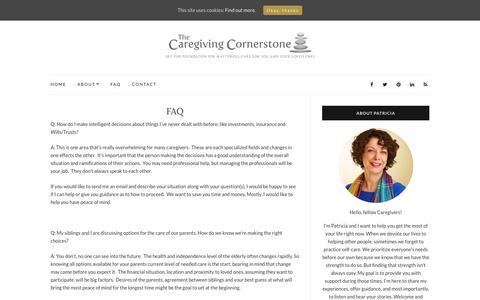 Screenshot of FAQ Page caregivingcornerstone.com - FAQ - The Caregiving Cornerstone - captured May 14, 2017