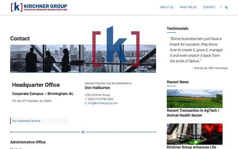 Screenshot of Contact Page kirchnergroup.com - Contact – Kirchner Group - captured June 9, 2017