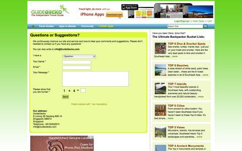 Screenshot of Contact Page guidegecko.com - Contact Us | GuideGecko - captured Oct. 3, 2014