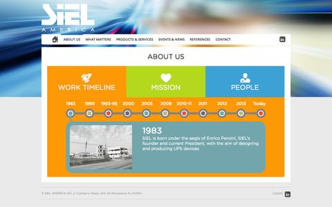 Screenshot of About Page sielamerica.com - About us - Siel America INC - captured Oct. 27, 2014