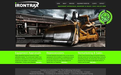 Screenshot of Home Page irontrax.com - Irontrax | Equipment Appraisals, Recovery & Sales| Call 440.237.0800 - captured Sept. 30, 2014
