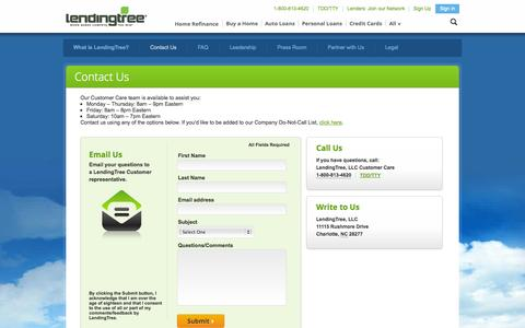 Screenshot of Contact Page lendingtree.com - LendingTree - Contact Us - captured Oct. 22, 2014