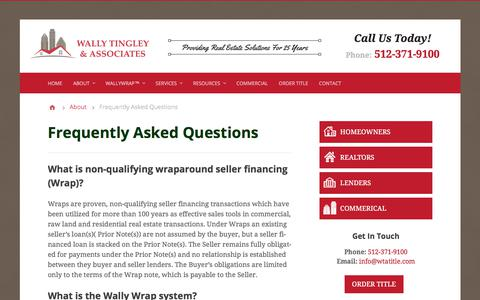 Screenshot of FAQ Page wallytingley.com - Frequently Asked Questions - Wally Tingley & Associates, P.C. | Austin, TX Title Company - captured Nov. 10, 2017