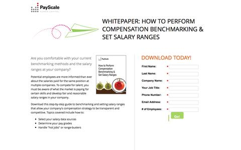 Screenshot of Landing Page payscale.com - How to Perform Compensation Benchmarking & Set Salary Ranges - captured Dec. 2, 2016