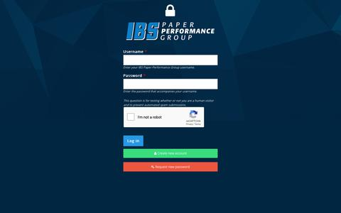 Screenshot of Login Page ibs-ppg.com - User account   IBS Paper Performance Group - captured Oct. 1, 2018