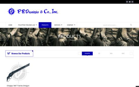 Screenshot of Products Page pbdionisio.com - Gun Store: Ammo, Firearms and Firing Range – Davao, Iloilo, Quezon City,  Metro Manila (Philippines) | Products - captured Jan. 23, 2016