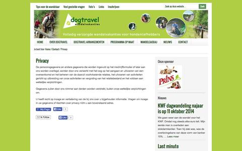 Screenshot of Privacy Page dogtravel.nl - Privacy - captured Sept. 30, 2014