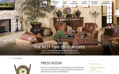 Screenshot of Press Page residenceclubpgawest.com - Press Room - captured Oct. 6, 2014