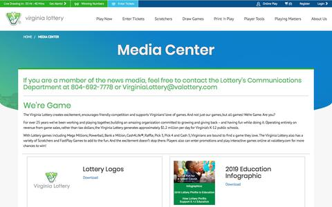 Screenshot of Press Page valottery.com - Virginia Lottery Media Center - captured Aug. 15, 2019
