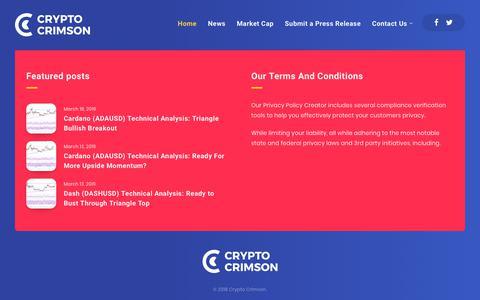 Screenshot of Home Page cryptocrimson.com - Bitcoin, Ethereum, ICO and Crypto News - Crypto Crimson - captured March 22, 2019