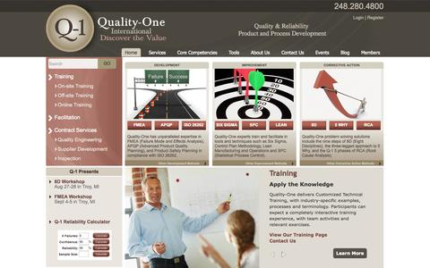 Screenshot of Home Page quality-one.com - Quality and Reliability | Product and Process Development | Quality-One - captured Oct. 2, 2014