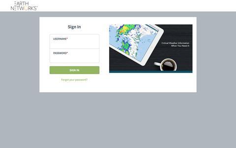 Screenshot of Login Page earthnetworks.com - EarthNetworks - captured May 9, 2017