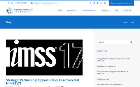 Screenshot of Blog businessexpansionpartners.com - Blog | Strategic Partnerships | Business Growth | Business Expansion Partners, Inc. - captured Nov. 6, 2018