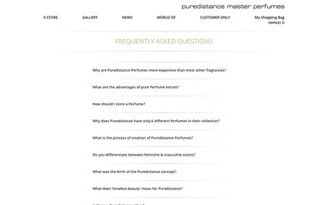 Screenshot of FAQ Page puredistance.com - Frequently Asked Questions – Puredistance Master Perfumes - captured Nov. 15, 2016