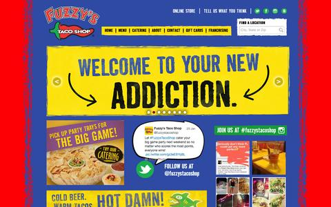 Screenshot of Home Page fuzzystacoshop.com - Fuzzy's Taco Shop - captured Jan. 25, 2015
