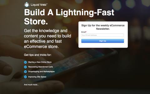 Screenshot of Landing Page liquidweb.com - Subscribe to the eCommerce Newsletter | Liquid Web - captured Feb. 21, 2020