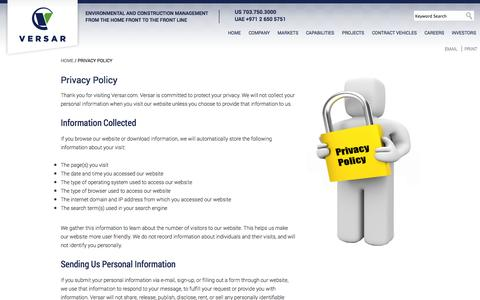 Screenshot of Privacy Page versar.com - Program, Engineering, Construction, Environmental Management by Versar, Inc. - captured Oct. 7, 2014