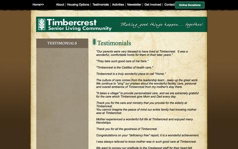 Screenshot of Testimonials Page timbercrest.org - Testimonials - Timbercrest Senior Living Community - North Manchester, Indiana - captured Oct. 7, 2014