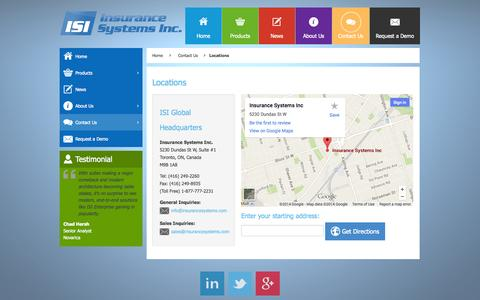 Screenshot of Locations Page insurancesystems.com - Locations - Insurance Systems Inc. - captured Oct. 10, 2014
