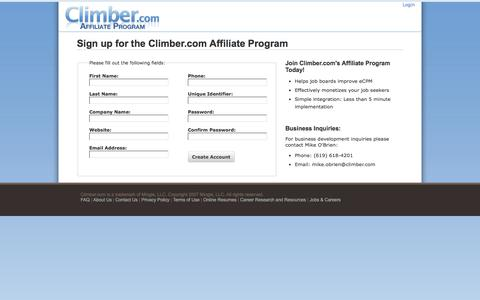 Screenshot of Signup Page climber.com - Climber.com Affiliate Program - captured June 20, 2017