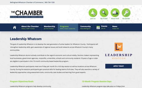 Screenshot of Team Page bellingham.com - Leadership Whatcom – Bellingham Whatcom Chamber of Commerce - captured Nov. 22, 2016