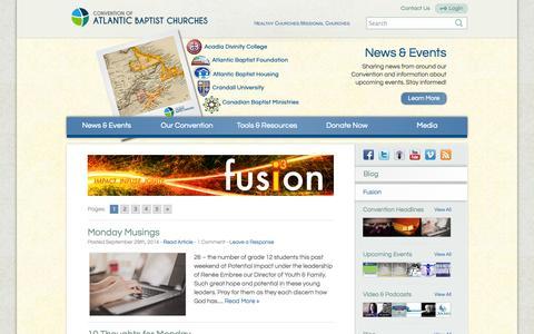 Screenshot of Blog baptist-atlantic.ca - Blog - Convention of Atlantic Baptist Churches - captured Oct. 3, 2014