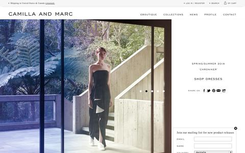 Screenshot of Home Page Menu Page camillaandmarc.com - CAMILLA AND MARC eBoutique | Women's Apparel - captured Sept. 23, 2014
