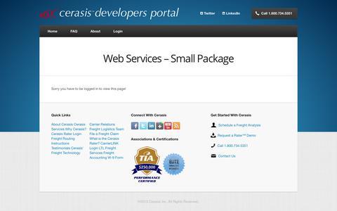 Screenshot of Developers Page cerasis.com - Web Services – Small Package | Cerasis Developers Portal - captured Nov. 3, 2017