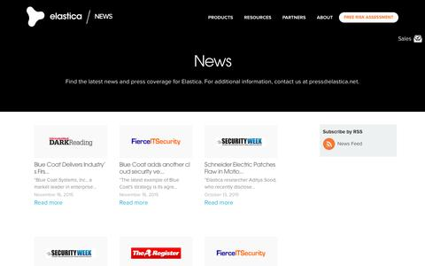 Screenshot of Press Page elastica.net - News Listing - Elastica - captured July 3, 2016