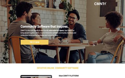 Screenshot of Landing Page cmnty.com - C Space Alternative that Inspires Interaction - captured July 4, 2017