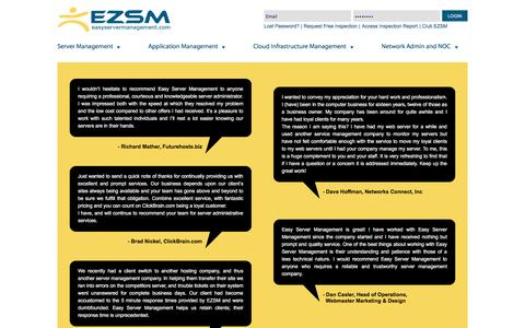 Screenshot of Testimonials Page easyservermanagement.com - Outsourced Server Administration for Linux and Windows Servers - captured Jan. 3, 2017