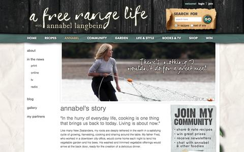 Screenshot of About Page annabel-langbein.com - Annabel Langbein – The Free Range Cook - captured Sept. 19, 2014