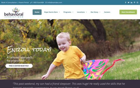 Screenshot of Home Page behavioral-innovations.com - Behavioral Innovations – Where lives are changed! - captured Oct. 1, 2018